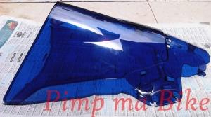 Blue aerodynamic windshield - aside front