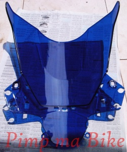 Blue aerodynamic windshield - back