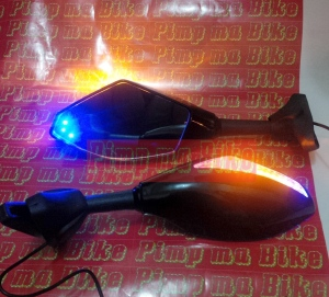 Spion sein double LED black glossy_front&back_ON
