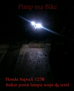 Lampu senja LED Superbright di Honda SupraX 125R