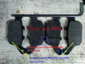 Perbandingan kampas rem blkg CBR250R non-ABS