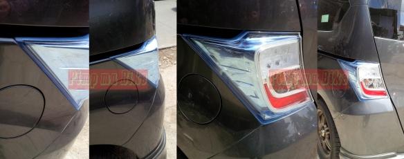Stiker mika lampu biru terpasang di Honda Freed