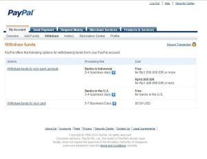 Biaya pembayaran via Paypal