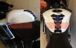 Knee grip clear white terpasang di CBR600RR