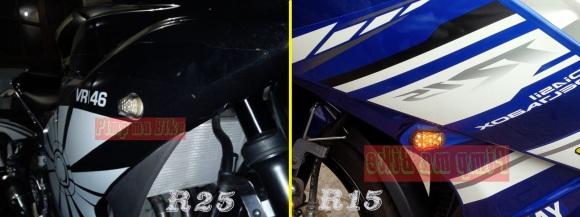 Sein tanam LED terpasang di Yamaha R25 dan R15_side look