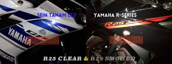 Sein tanam LED Yamaha R25_smoked dan clear terpasang