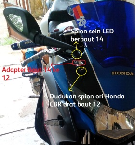 Contoh penggunaan adapter baut 14 (L6) ke 12 (L5)