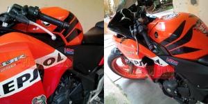 Emblem stainless 3D HRC terpasang di Honda CBR250R Repsol