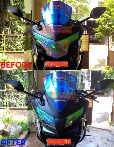 Contoh terpasang Kedok Hokage Mask CBR CBU Thai. Before&After di CBR250R Denis.