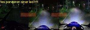 Lampu LED H4 lens superbright_tes pancaran sinar