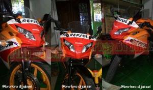 Penampakan CBR150R Repsol dengan kedok Hokage merah @bro Toro di Jaksel