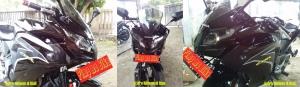 Perbandingan tampilan pemakaian kedok Hokage CBR150R hitam bro Ridwan Riau