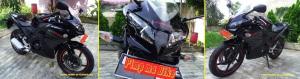 Perbandingan tampilan pemakaian kedok Hokage CBR150R hitam. Credit: @bro Henry di Tangerang