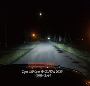 Lampu LED Cree H4 20-40W 6000K tampak terpasang di mobil dan daya penerangannya sudah lebih dari cukup (sangat terang) untuk pemakaian harian. Tampak pada gambar ini sorotan lampu jauhnya (high-beam).