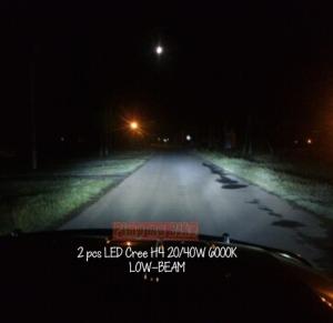Lampu LED Cree H4 20-40W 6000K tampak terpasang di mobil dan daya penerangannya sudah lebih dari cukup untuk pemakaian harian. Tampak pada gambar ini sorotan lampu dekatnya (low-beam).