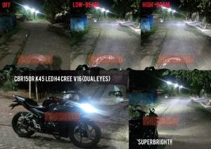 Lampu LED H4 Cree V16_Perbandingan sinar lampu terpasang di CBR150R K45 lokal