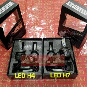 Lampu LED CREE H4&H7 Superbright V16 Turbo. H4 berkaki 3 soketnya, H7 berkaki 2 soketnya.