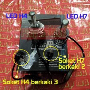 Lampu LED H4&H7 cree Superbright V6 Turbo_perbandingan bentuk dan soketnya