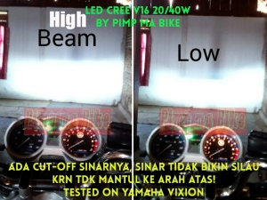 Lampu utama LED CREE 20-40w_perbandingan sinar siang hari, cut-off sinar tested on Yamaha Vixion.