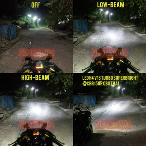 Lampu utama LED H4 V16 Turbo_Perbandingan sinar di CBR150R CBU Thai. @bro Imam CBR Riders Bogor