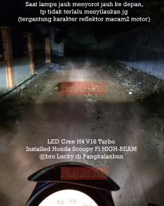 Klik gambar ini untuk melihat lebih jelas daya sorot LED Cree H4 40W di Honda Scoopy Fi. Terang tanpa menyilaukan lawan arah!