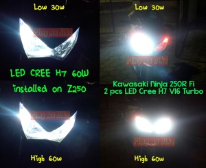 LED Cree H7 V16 Turbo 60W_gallery tampak depan terpasang di Kawasaki Z250 dan Ninja 250 Fi