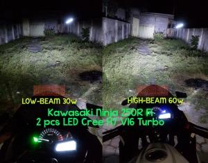 LED Cree H7 V16 Turbo installed Ninja 250 Fi perbandingan daya sorotnya. Ini dia lampu LED paling terang untuk Kawasaki Ninja. HID dan projie-projiean mah lewaaat!