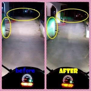 Perbandingan daya jangkau cahaya lampu utama standar dan LED H4 di CBR K45 dual eyes. Jangkauan sinar lebih luas dan mantap!