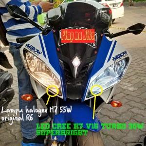 Lampu LED CREE H7 V16 Turbo Yamaha R6_perbandingan sinar lampunya