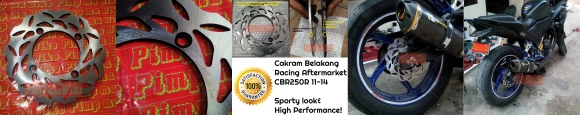 Cakram belakang racing aftermarket CBR250R Non ABS 2011-2014. Racing look dan high performance terbuat dari high temp treated stainless steel carbon. Rp650.000,- per pcs.