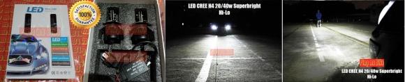 2 pcs Lampu Utama LED CREE soket H4 20/40w SUPERBRIGHT untuk Mobil. Sinar fokus-kuat dan jangkauannya luas, tanpa menyilaukan lawan arah (ada cut-off sinarnya! Garansi 1 tahun. PRICE: Rp1.100.000,- sepasang (2 pcs).