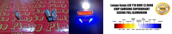 Lampu Senja LED T10 12.000K (Biru) Chip Samsung Superbright. CASING FULL ALUMUNIUM, GARANSI 1 TAHUN. Price: Rp70.000 per pcs atau Rp130.000 sepasang.
