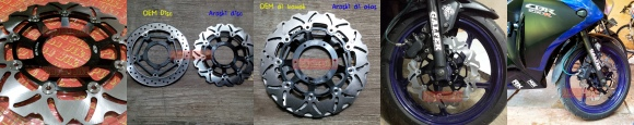 Cakram Depan Arashi PNP CBR 250R Non-ABS. High performance allumunium alloy+stainless steel CNC brake disc dengan desain agresif sporty racing. VERY RARE ITEM! PRICE: Rp1.850.000 per pcs cakram depan.