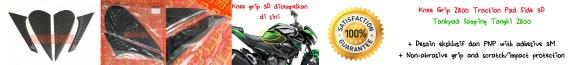 Knee Grip Kawasaki Z800 Traction Pad Side 3D, Tankpad Samping Tangki Kawasaki Z800. Desain eksklusif dg adhesive 3M. Provides anti-slip dan melindungi samping tangki dari benturan atau goresan. PRICE: ONLY Rp450.000,- sepasang (kiri-kanan).