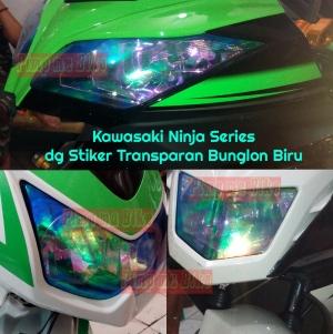Modifikasi mika lampu dg cutting sticker bunglon biru di Kawasaki Ninja series (Ninja 150 RR, Ninja 250 karbu, Ninja 250 Fi. Jadi makin garang kan!