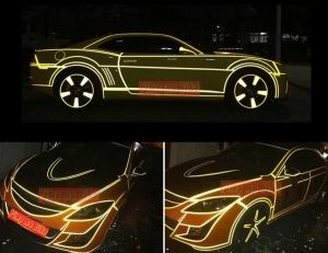 Stiker reflektif 3M kuning. Contoh terpasangnya di aneka mobil sedan. Bumblebee+Tron alike!