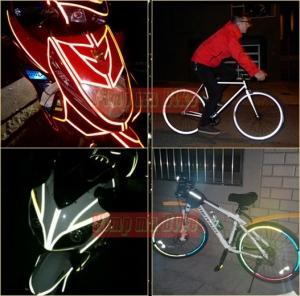 Stiker reflektif 3M putih dipasang di berbagai roda 2 termasuk di sepeda juga oke!