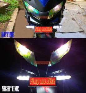 Foglamp LED Bar 18w, contoh perbandingan tampak menyala pada siang dan malam hari di Honda CBR250R 2012. Unik seperti winglet motoGP ya gan! hehe