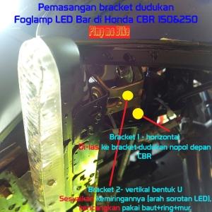 Foglamp LED Bar 18w, Rahasia pemasangan bracketnya di Honda CBR. Arus positif lampu senja diambil dari soket senja di soket dashboard. TIDAK POTONG KABEL BODY ORI DI LUARAN, demi safety gan!