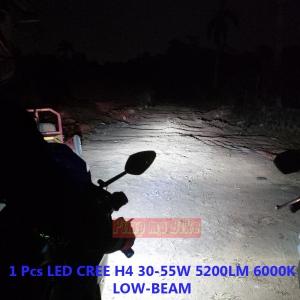 Lampu LED H4 55W P6 terpasang 1 pcs di Honda CBR250R PMB. Sinar lampu dekat menyorot sempurna dan paling terang nih untuk lampu utama motor!