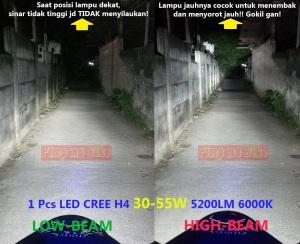 Lampu utama LED H4 55W P6 terpasang 1 pcs di CBR 250. Foto perbandingan low&high beam tampak jelas, terang mantap bro sorotan lampu tembaknya!