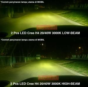 ampu LED Cree H4 40W 3000K kuning_contoh daya sorot terpasang di mobil.