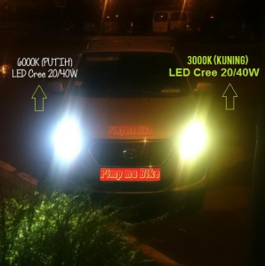 Lampu LED Cree H4 20/40W DUAL COLOR tampak depan terpasang di mobil. Bisa ganti warna dg lampu LED yg sama lho! Asyik kan, jadi sesuai kebutuhan dan bikin semakin nyaman berkendara bro!