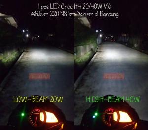 LED Cree H4 V16 Turbo adalah salah Lampu utama motor yang paling terang. Bisa Anda lihat daya sorotnya di gambar ini dipasang pada Pulsar 220 NS @bro Yanuar di Bandung.