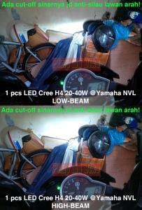 Lampu LED Cree H4 40W terpasang di Yamaha Vixion NVL. Sinar lampunya ada cut-off masbro! Jadi aman ga bikin silau lawan arah kan!