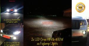 Galeri terpasang foglamp LED Cree H11 V16 Turbo berdaya 30W per pcs. Bukan pepesan kosong kan terangnya foglamp LED ini!? hehe