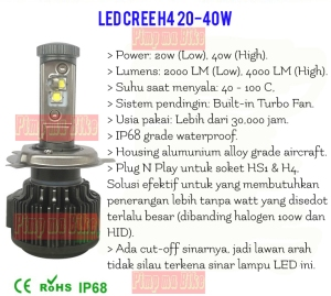 Poster penjelasan produk LED Cree H4 20/40W.