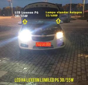 Perbandingan lampu LED Luxeon H4 30/55W dengan H4 dg lampu halogen standar 55/60W. Terlihat jelas lampu LED lebih padat dan 2-3x lipat terang sinarnya, tapi listrik yg disedot lebih kecil, wow!