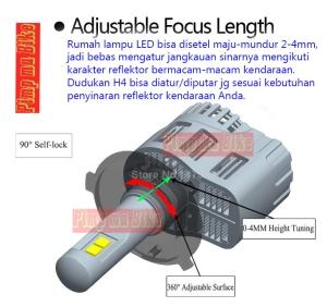 Salah satu keistimewaan lampu LED H4 55w Lumiled P6 ini. Lampunya full adjustable aka bisa disetel-setel bro sesuai kebutuhan reflektor kendaraan Anda.