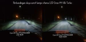 Lampu utama LED Cree H4 40W 6000K, tampak perbandingan daya sorotnya di mobil.